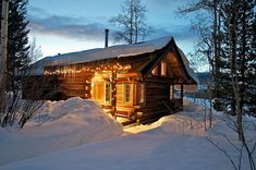 Winter time at the rustic cabin! Christmas time in the woods.