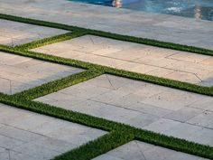 Patio with limestone block and grass. A Finer Touch Construction Driveway Design, Patio Design, Garden Design, Modern Landscaping, Outdoor Landscaping, Permeable Driveway, Driveways, Walkways, Limestone Patio