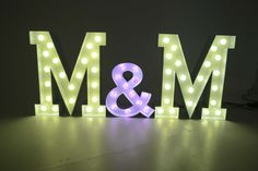 M & M Large Light Up Letters for Wedding Celebrations.