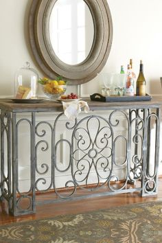 Adelaide Console - Iron Console Table, Weathered Table, Entry Room Console | Soft Surroundings