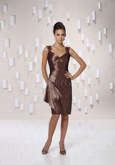 Straps Column Criss Cross Coffee Satin Mother Of The Bride Dress picture 1