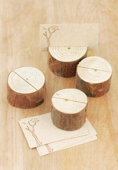 Wood slices make a woodsy place card holder