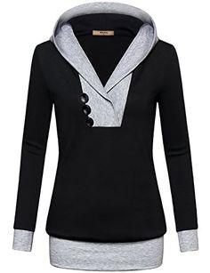Sweatshirts for WomenMiusey Juniors Long Sleeve Pullover Color Block  Layered Kangaroo Pocket Top Hoodie Sweater Tshirt 6ea554498858