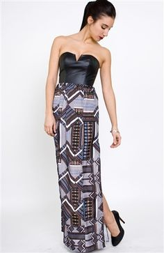 Tribal Jigsaw maxi Dress