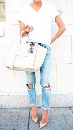white celine + boyfriend jeans. nude pumps.