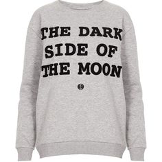 TOPSHOP Dark Side Sweatshirt ($23) ❤ liked on Polyvore featuring tops, hoodies, sweatshirts, shirts, sweaters, jumpers, grey marl, grey sweatshirt, grey sweat shirt and sweat tops