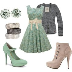Nice pastel outfit combo. Baroque 50s dress with chunky knit cardigan!