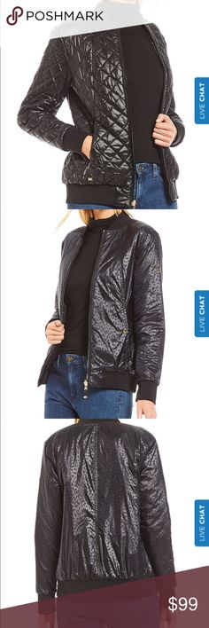 """NWT Michael Kors Reversible Bomber Jacket NWT puffer style jacket featuring:  Banded collar.  Leopard print reverses to solid. Functional front pockets on both sides. Banded hemline. Zip front closure Approximately 25"""" long. Polyester/nylon. Machine wash. Michael Kors Jackets & Coats Puffers"""