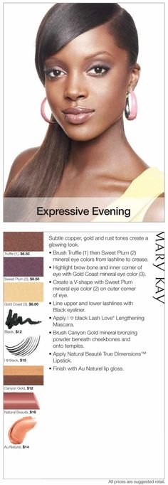 Embrace the metallic trend! Try this Expressive Evening look to achieve a glow with subtle copper, gold, and rust tones.