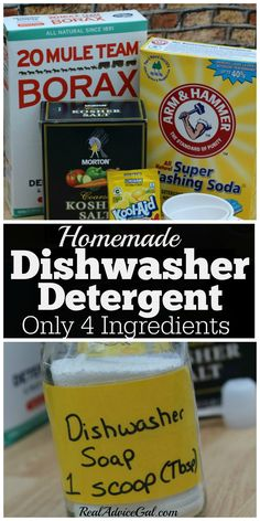 Homemade Dishwasher detergent ingredients and soap in a jar