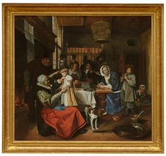 "Jan Steen ""As the Old Sing, so Pipe the Young""  ca. 1663-1665 Holland. The Hague Museum"
