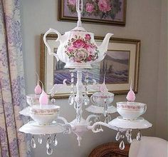 Tea Chandelier by Lavender Hill Studio