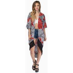 MINKPINK Spot Surprise Kimono (150 BRL) ❤ liked on Polyvore featuring intimates, robes, multi, kimono robe, minkpink kimono, polka dot robe, minkpink and tassel kimono