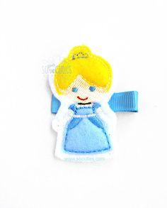Cinderella Princess Set Felt embroidery hair clip / by soCuties, $4.00 #disney #princess #cinderella