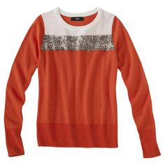 burnt orange sweater with gold sequin strip by Mossimo