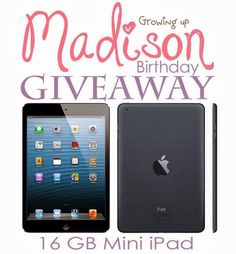 Happy Birthday Madison!  This little girl is giving away an I-pad Mini for her birthday.  My boys could learn a lesson from her in generosity.