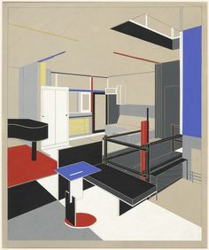 A retrospective at the Vitra Design Museum celebrates Rietveld's works of architecture and design. Picture: Coloured collotype of the interior of the Rietveld-Schröder-House with the girl's sleeping area. Drawing: Gerrit Rietveld, 1951, © VG Bild-Kunst, Bonn 2012