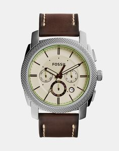 Watch by Fossil Real leather strap Stainless steel case Three hand movement Sub-dial, chronograph design Date window Dash indices Pin buckle fastening