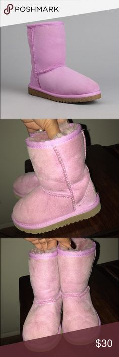 """✨Toddler Ugg boots ✨ Rare - """"Orchard Bloom"""" pinkish/lavender color Uggs  Soles are in great condition  Regular wear and tear from a toddler  Lots of life left in them  Encased glitter soles UGG Shoes Boots"""