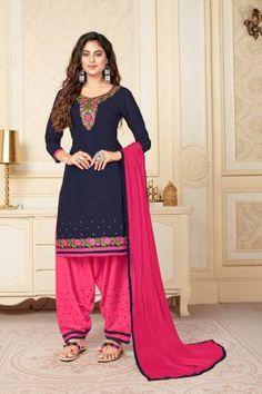 Vedant Vastram Navy Cotton Embroidered Semi Stitched Straight Suit Latest Salwar Suits, Latest Salwar Suit Designs, Salwar Suits Online, Salwar Kameez Online, Indian Salwar Suit, Patiala Suit, Pakistani Suits, Suits Online Shopping, Suit Shop