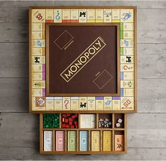Holiday Wishlist: Giant Monopoly from RH Board Game Table, Wooden Board Games, Wood Games, Table Games, Game Tables, Harry Potter Monopoly, Monopoly Game, Monopoly Board, Custom Monopoly