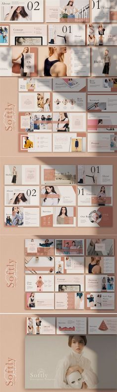Softly is a free keynote template, created by Rits Studio, perfect for presenting any project. Brand Presentation, Presentation Layout, Presentation Templates, Presentation Slides, Web Design, Book Design, Layout Design, Graphic Design, Design Styles