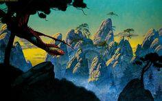 Hunting Dragon by Roger Dean, for @Matthew Addonizio Addonizio Phillips especially