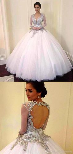 V Neck Long Sleeve Lace Appliques Wedding Dresses Open Back Bridal Gown Ivory Lace Wedding Dress, Pink Wedding Dresses, Applique Wedding Dress, Perfect Wedding Dress, Bridal Dresses, Inexpensive Wedding Dresses, Affordable Bridesmaid Dresses, Prom Dresses Online, Ball Gowns