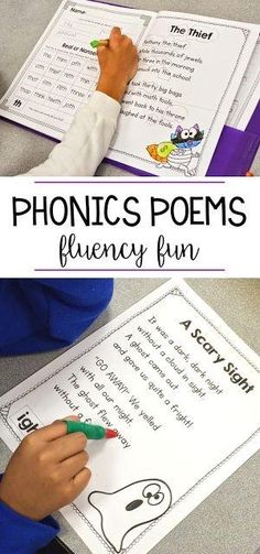 These phonics poems are the perfect way to have your students practice fluency! I love to put these poems in a poetry folder and each week we have a new word family or phonics skill to learn. Kindergarten, first grade, and second grade students can read t Teaching Phonics, Phonics Activities, Kindergarten Literacy, Reading Activities, Preschool, Poetry Activities, Teaching Resources, Phonics Rhymes, Kids Phonics