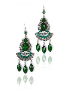 Green Metal Cut Earrings Buy Online on Thia.in