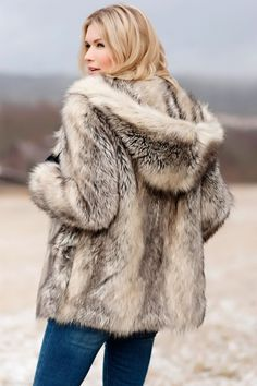 Faux Fur-Trimmed Cascade Coat in Jackets Ladies Hooded Coats, Coats For Women, Outfits Otoño, Winter Outfits, Faux Fur Hooded Jacket, Fur Clothing, Fabulous Furs, Fur Fashion, Fur Vests