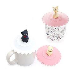 patrón de gato tazón cubierta de silicona taza de tapa (color al azar) – USD $ 2.99