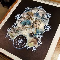 Stretching a 16x20 #canvas satin archival giclee print of my new #legendofzelda #breathofthewild #legendofzeldabreathofthewild #nintendo inspired #painting #digitalpainting #illustration #design #graphicdesign #designer #artist #etsy #amazonhandmade #studio #gaming #gamestagram #gamer #zelda #switch #link #hyrule