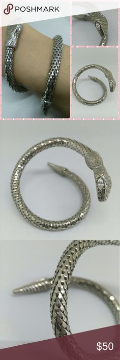 Silver Adjustable Wrap Snake Reptile Bracelet Beautiful bracelet I've had and worn a couple times but found it sits in the jewelry box more than anything as I rarely wear bracelets. Great condition, easily adjustable for any size. Jewelry Bracelets