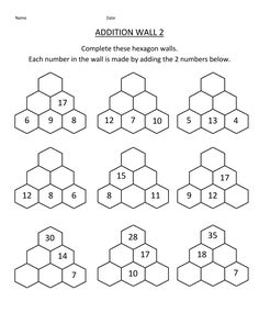 Here you will find our selection of Math Addition Facts Worksheets which will help your child learn and practice their addition facts to 20 Year 2 Maths Worksheets, Addition And Subtraction Worksheets, Printable Math Worksheets, Addition Activities, Math Pages, Math Lesson Plans, Maila, Grade 2, Third Grade