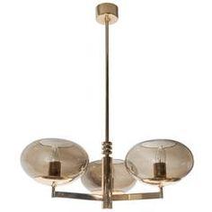 Italian Mid Century Smoked Glass And Brass Three Arm Chandelier By Sciolari.  Moderne KronleuchterKronleuchterVintage ...