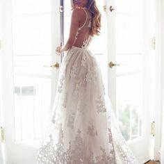 Fancy long maxi white prom dress