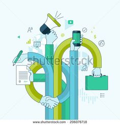 Flat line design concept for business and marketing. Concepts for web banners and printed materials. - stock vector