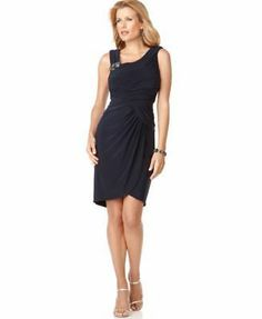 Adrianna Papell Evening Sz 8 Navy Blue Embellished Strap Party Cocktail Dress | eBay for $53.58