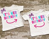 It's Her Birthday Twin Girls Shirt Set with Bows
