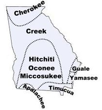 Map of Georgia showing location of the Creek Tribe