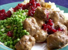 Swedish Meatballs With Lingonberry  or Cranberry  Sauce Swedish Meatball Recipes, Swedish Recipes, Swedish Foods, Scandinavian Recipes, French Recipes, Lingonberry Recipes, Ribbon Pasta, Beef Recipes, Recipes