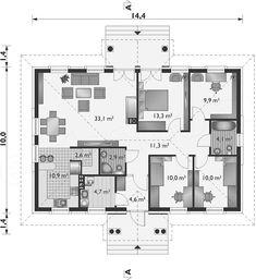 Projekt domu Aleksandria - murowana - ceramika 112,7 m2 - koszt budowy 184 tys. zł - EXTRADOM Beautiful Small Homes, Future House, Planer, Living Room Decor, House Plans, Floor Plans, House Design, How To Plan, Architecture