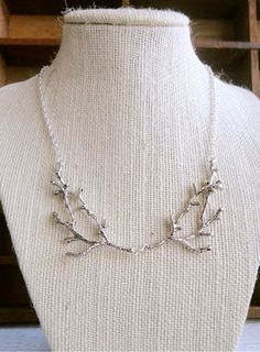 Branch / twig / antler woodland bib necklace, silver tone, whimsical statement necklace, A Love Affair