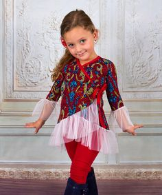 Look at this #zulilyfind! Red & Blue Ruffle Wrap Tunic & Leggings - Toddler & Girls #zulilyfinds