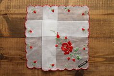 Flower embroidered Hankie Handkerchief Vintage Stock Monogrammed Lace Wedding Bridal Gift Personalized by Yebisu on Etsy