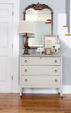 Small dresser painted in Benjamin Moore Plymouth Rock.  #paintedfurniture #plymouthrock #valleyforgetan #benjaminmoore