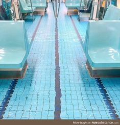Taipei's subway looking like a realistic swimming pool Water Aesthetic, Blue Aesthetic, Vaporwave, Little Paris, Oldschool, Meme Pictures, Painted Floors, Modern Artists, Aesthetic Pictures