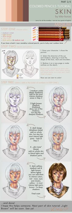 """drawingden: """"Colored pencils tutorial SKIN part 2 - MEDIUM by kiko-burza Support the artist and check out their commissions! Colour Pencil Shading, Color Pencil Art, Colored Pencil Tutorial, Colored Pencil Techniques, Shading Techniques, Colouring Techniques, Skin Tone Colored Pencils, Shading With Colored Pencils, Skin Drawing"""