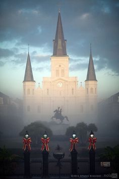 Fabulous photo of St. Louis Cathedral in the New Orleans fog at Christmas time.